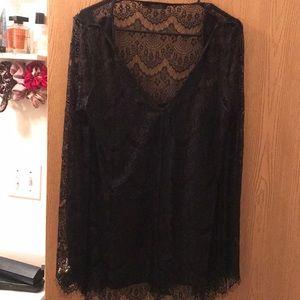 Black lace sheer top